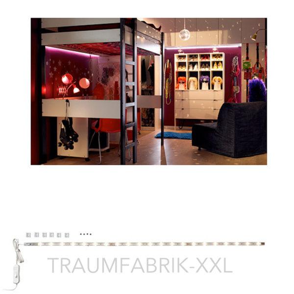 ikea ledberg led lichtleiste 75cm bunt 3 fach steckbar je 25cm komplettset neu traumfabrik xxl. Black Bedroom Furniture Sets. Home Design Ideas