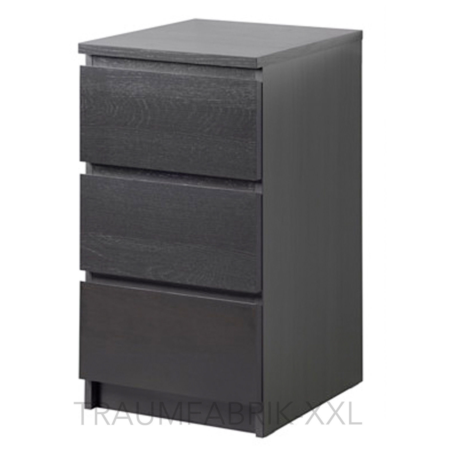 ikea malm kommode mit 3 schubladen schwarz nachtkonsole nachttisch schrank neu traumfabrik xxl. Black Bedroom Furniture Sets. Home Design Ideas