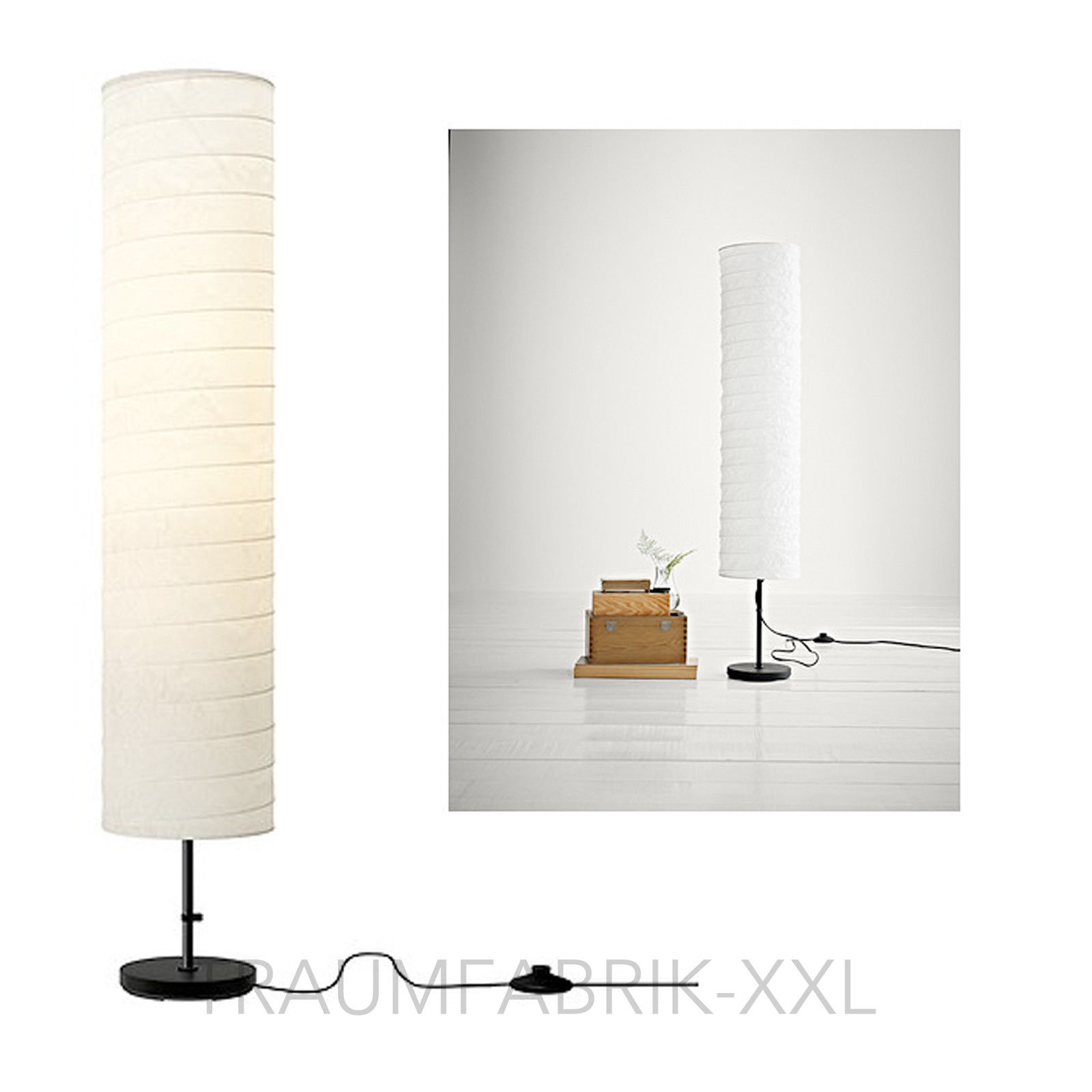 lounge standleuchte 117 cm lampe leuchte weiss stehlampe stehleuchte raumdeko traumfabrik xxl. Black Bedroom Furniture Sets. Home Design Ideas