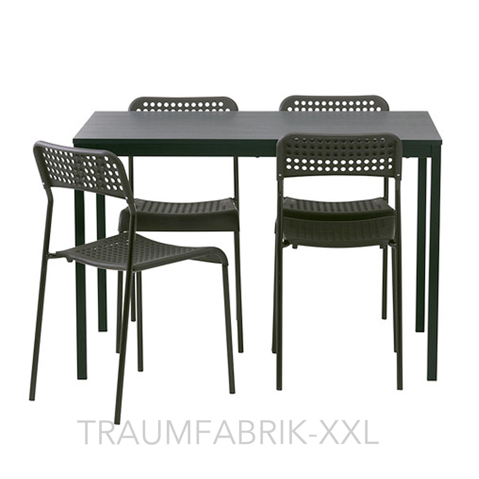 ikea essgruppe tischgruppe esszimmer esszimmergarnitur tisch st hle schwarz neu traumfabrik xxl. Black Bedroom Furniture Sets. Home Design Ideas