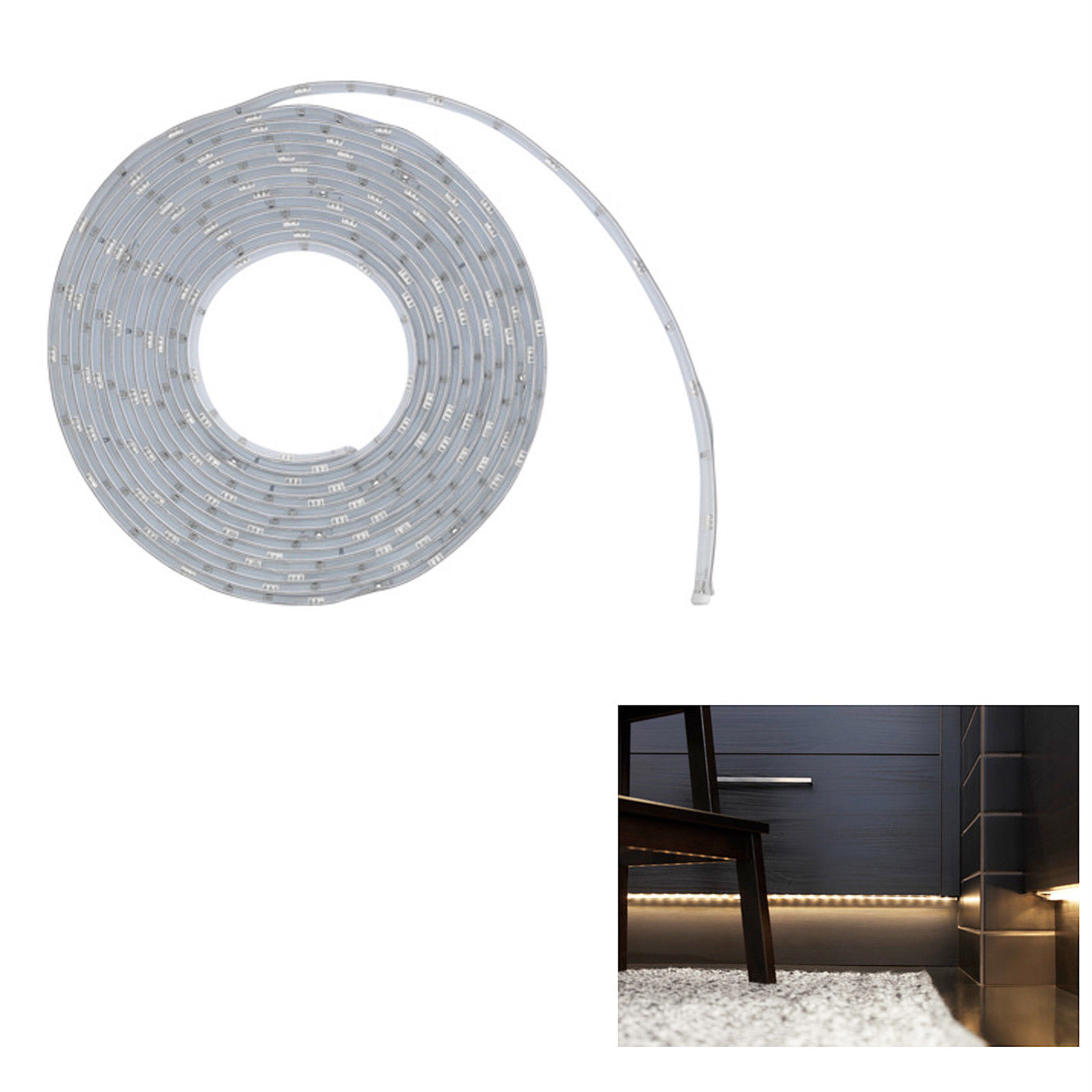 IKEA LEDBERG LED Flexible Lichtleiste 5 meter weiß Komplettset mit ...