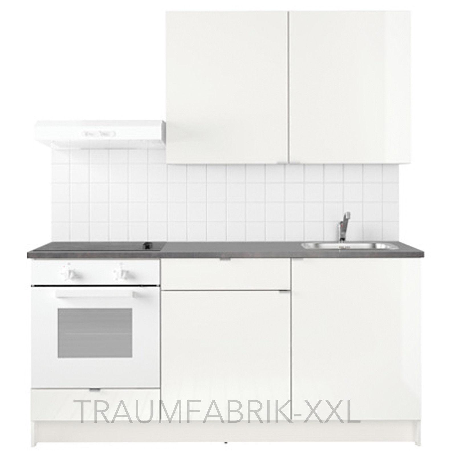 Küchenzeile Küche Küchenblock 180cm breit weiß mit E-Geräten ...
