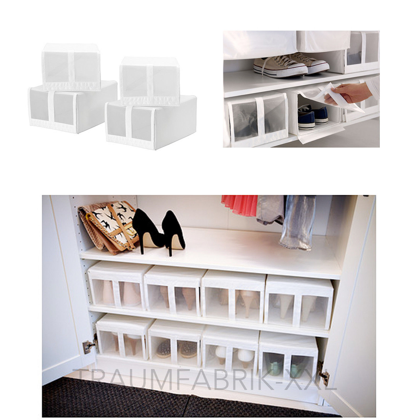 4x aufbewahrungsboxen schuhe boxen box regalbox schuhbox. Black Bedroom Furniture Sets. Home Design Ideas