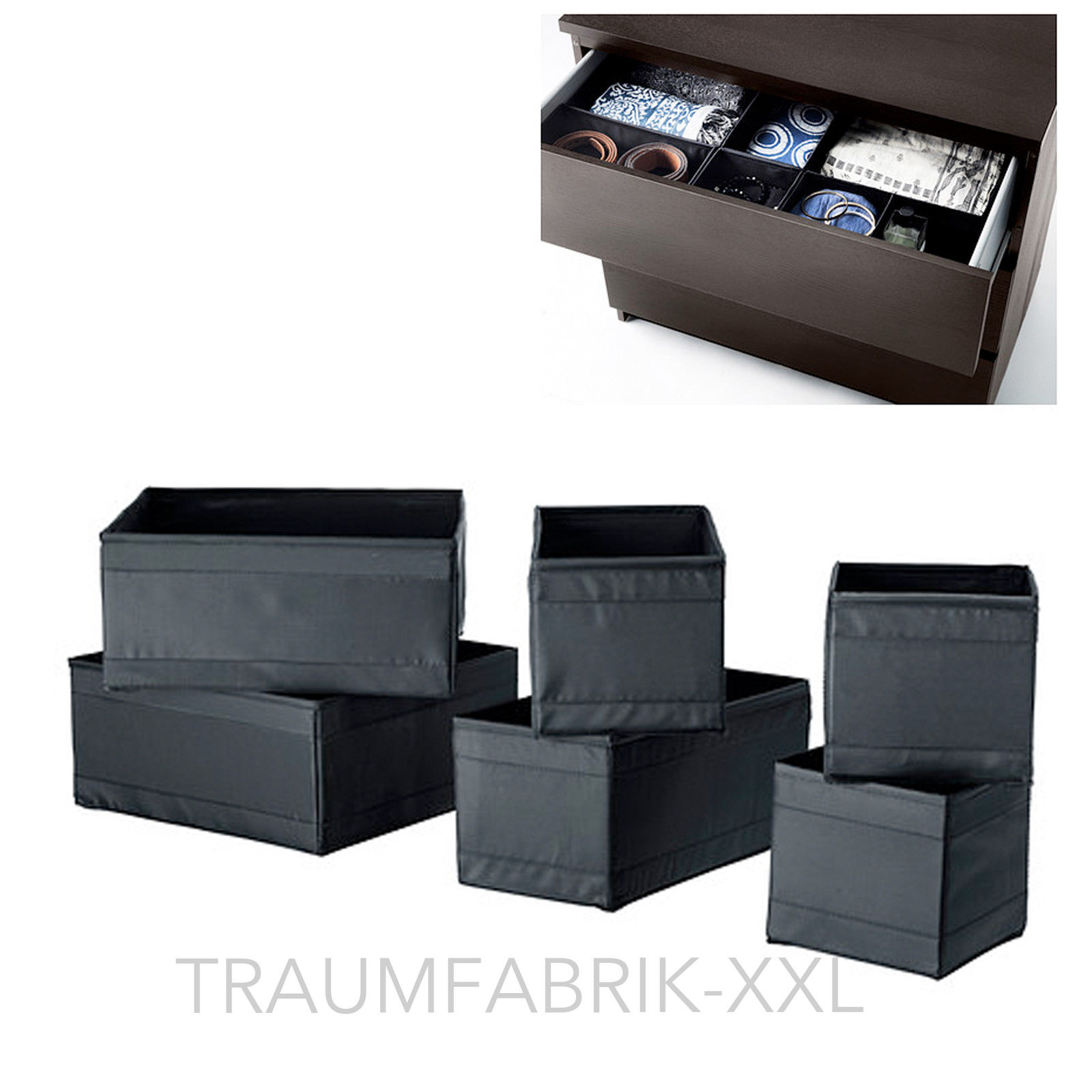 ikea 6er set aufbewahrungsboxen skubb regaleins tze je 2x in 3 gr en schwarz traumfabrik xxl. Black Bedroom Furniture Sets. Home Design Ideas