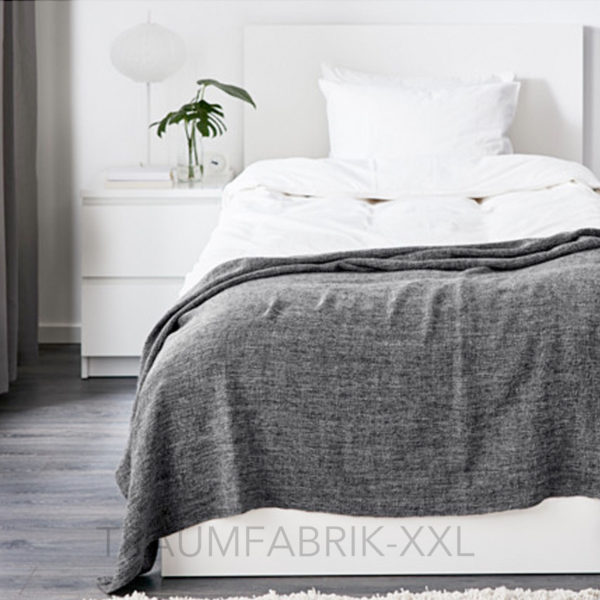 ikea gurli grau schwarz tagesdecke 120x180cm kuscheldecke plaid wolldecke neu traumfabrik xxl. Black Bedroom Furniture Sets. Home Design Ideas