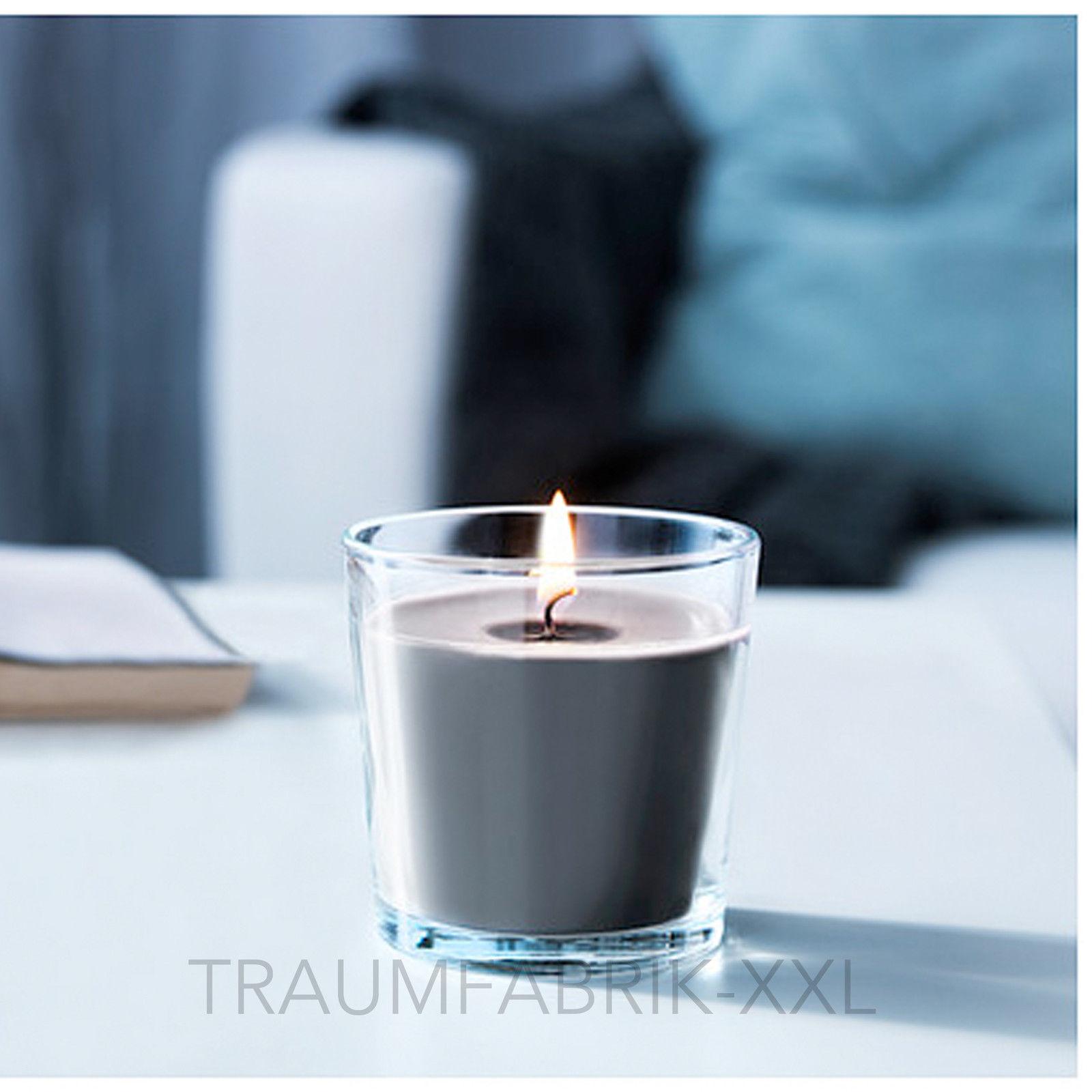 10 x duftkerze kerze im glas 7 5 cm teelicht 25 std brenndauer kerzen grau neu traumfabrik xxl. Black Bedroom Furniture Sets. Home Design Ideas