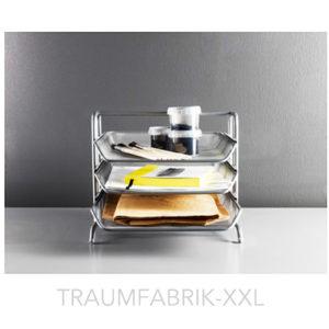 ablage briefablage silber schreibtischablage briefkorb ablagefach metall neu ovp traumfabrik xxl. Black Bedroom Furniture Sets. Home Design Ideas