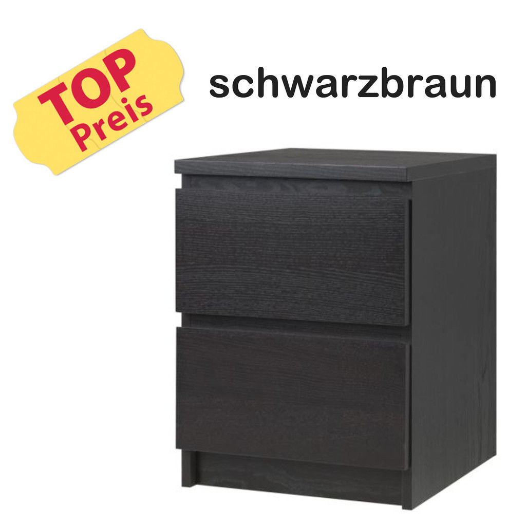 ikea kommode schrank 2 schubladen malm schwarz neu ovp. Black Bedroom Furniture Sets. Home Design Ideas
