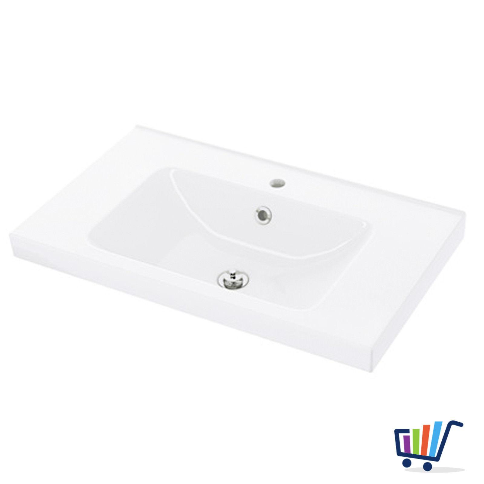 IKEA ODENSVIK Waschbecken Bad 80×49 cm Waschtisch weiß + Abfluss und ...