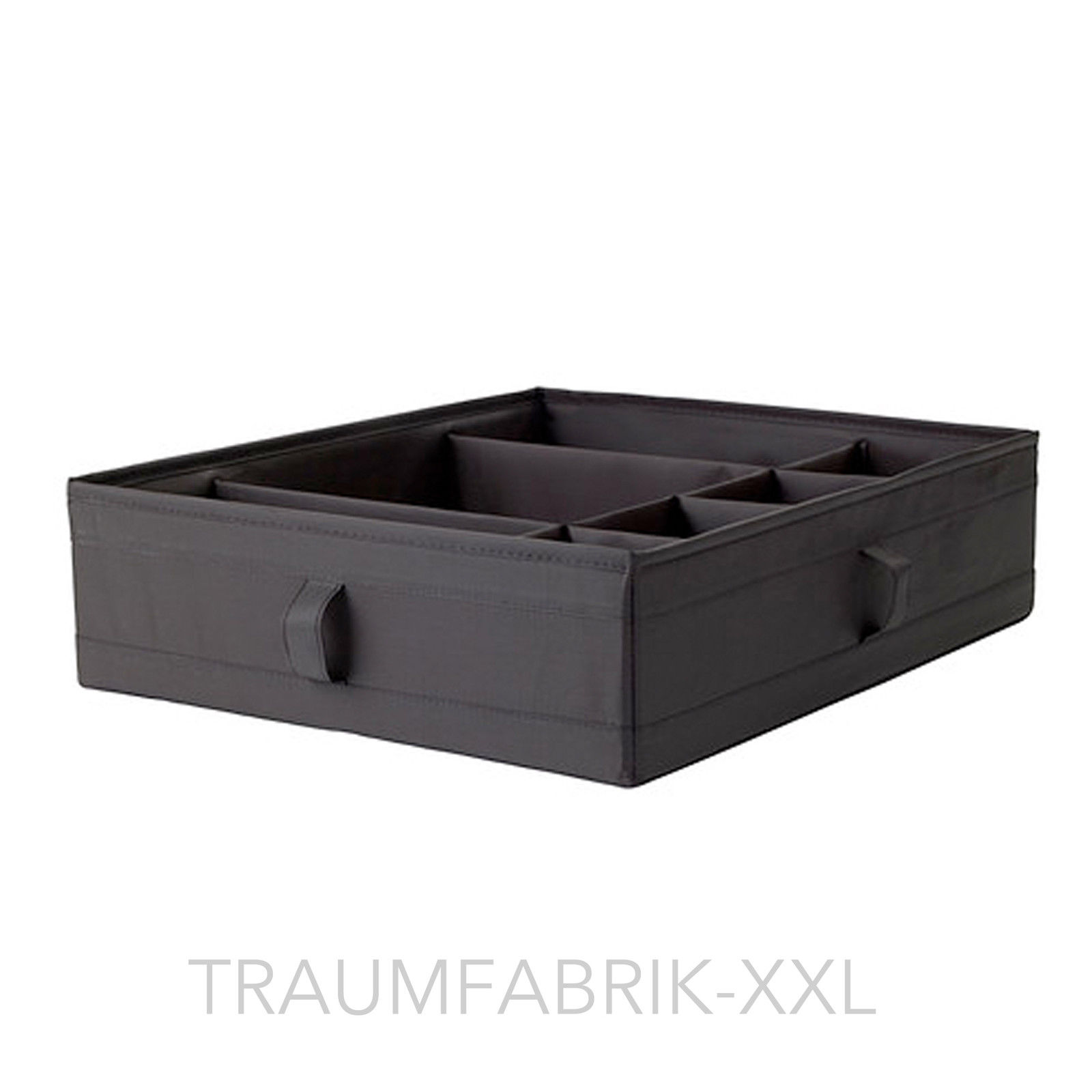 kasten mit f chern 44x34x11cm aufbewahrung aufbewahrungsbox box regalbox schwarz traumfabrik xxl. Black Bedroom Furniture Sets. Home Design Ideas