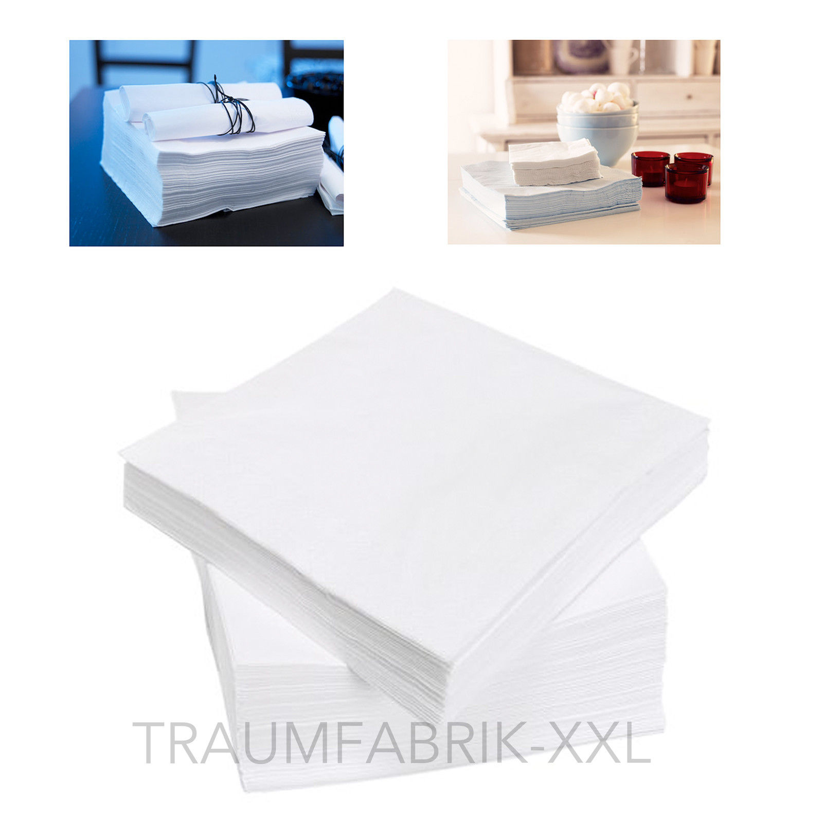 100 st ck ikea papierservietten 40 x 40 cm papier servietten weiss gastronomie traumfabrik xxl. Black Bedroom Furniture Sets. Home Design Ideas