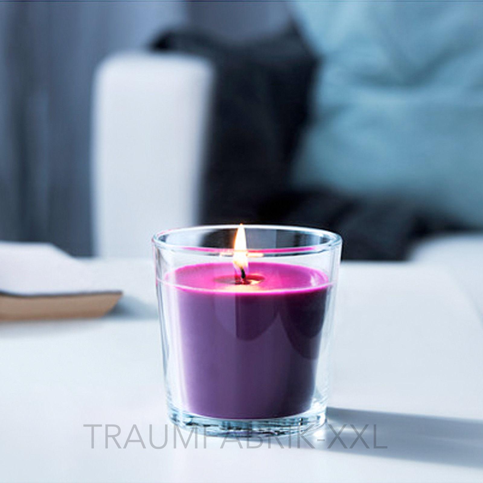 ikea duftkerze kerze im glas aroma 25 std brenndauer bl tenduft lila bl te neu traumfabrik xxl. Black Bedroom Furniture Sets. Home Design Ideas