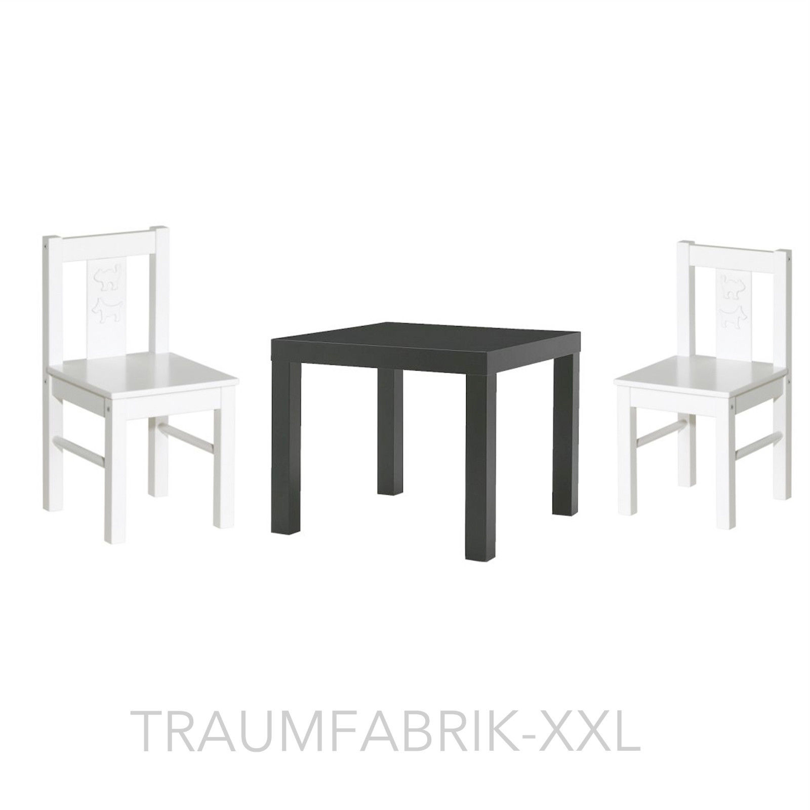 ikea kindersitzgruppe kindertisch 2x kinderstuhl sitzgruppe wei kritter lack traumfabrik xxl. Black Bedroom Furniture Sets. Home Design Ideas