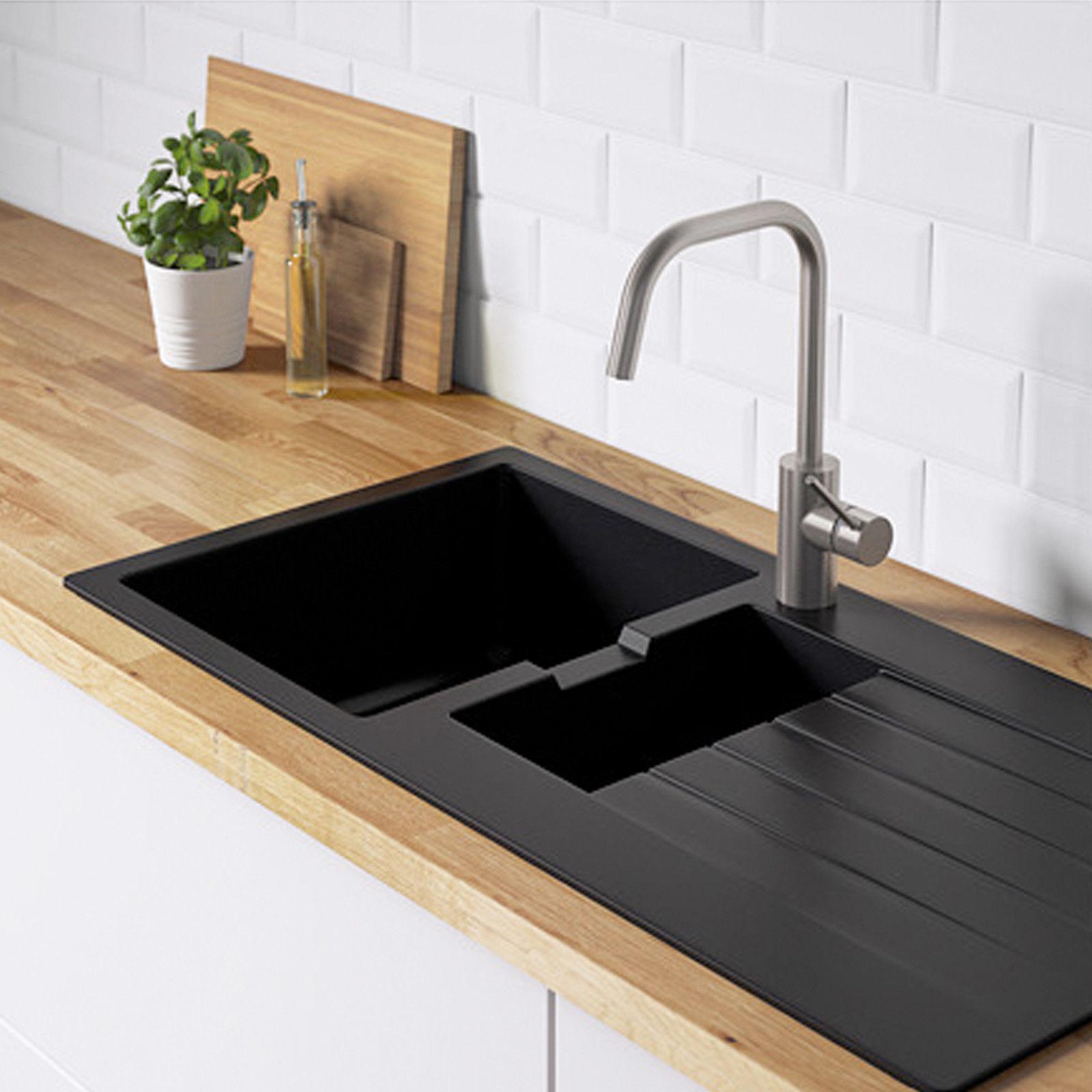 IKEA Spüle Einbauspüle 1,5 Becken schwarz Quarzkomposit 100×50 cm ...