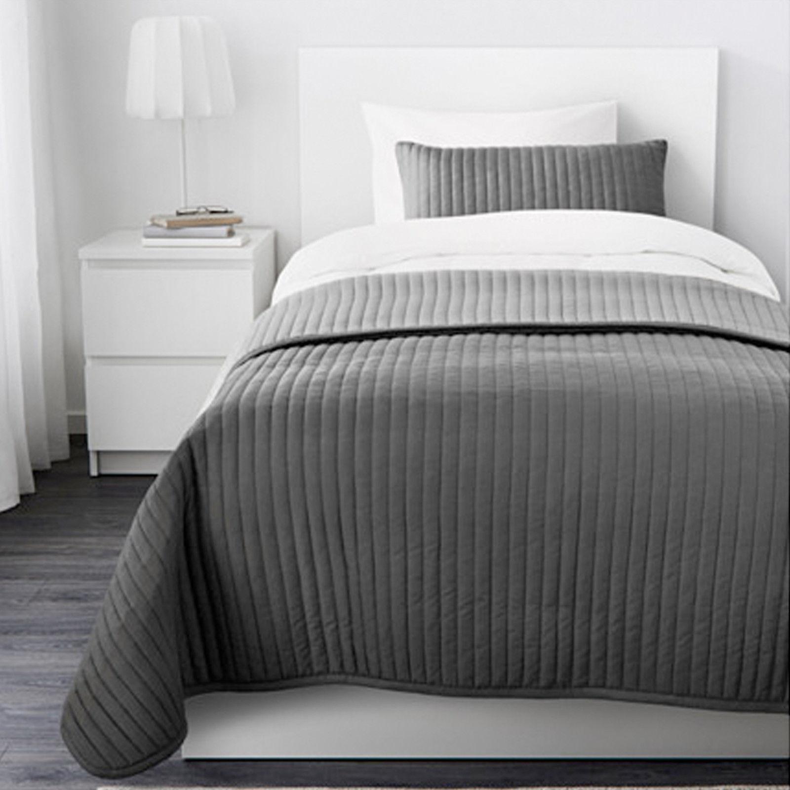 ikea karit tagesdecke 1 kissenbezug grau 180 280 cm einzelbett weich neu ovp traumfabrik xxl. Black Bedroom Furniture Sets. Home Design Ideas