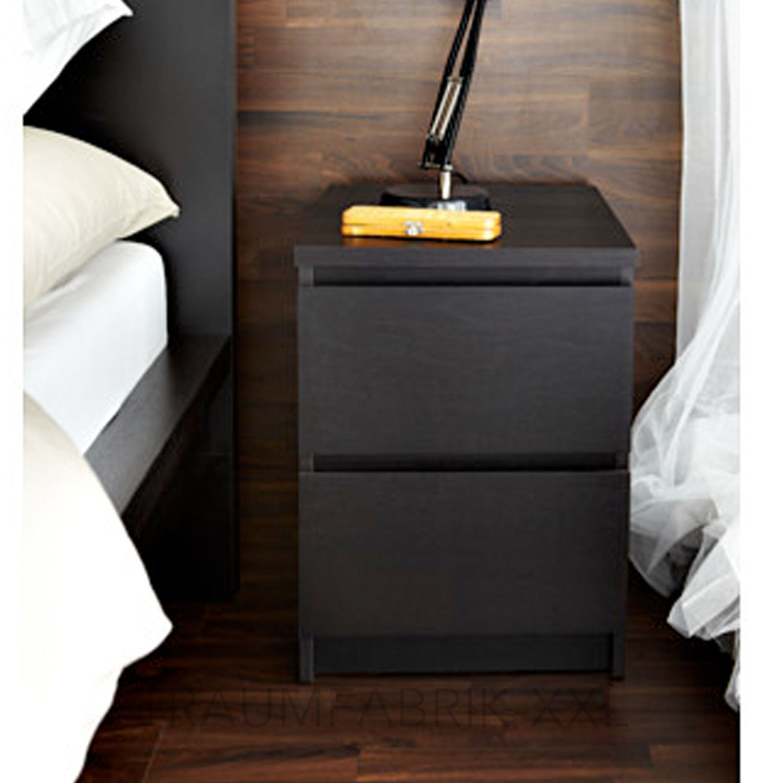 ikea kommode schrank mit 2 schubladen nachtisch schwarz. Black Bedroom Furniture Sets. Home Design Ideas