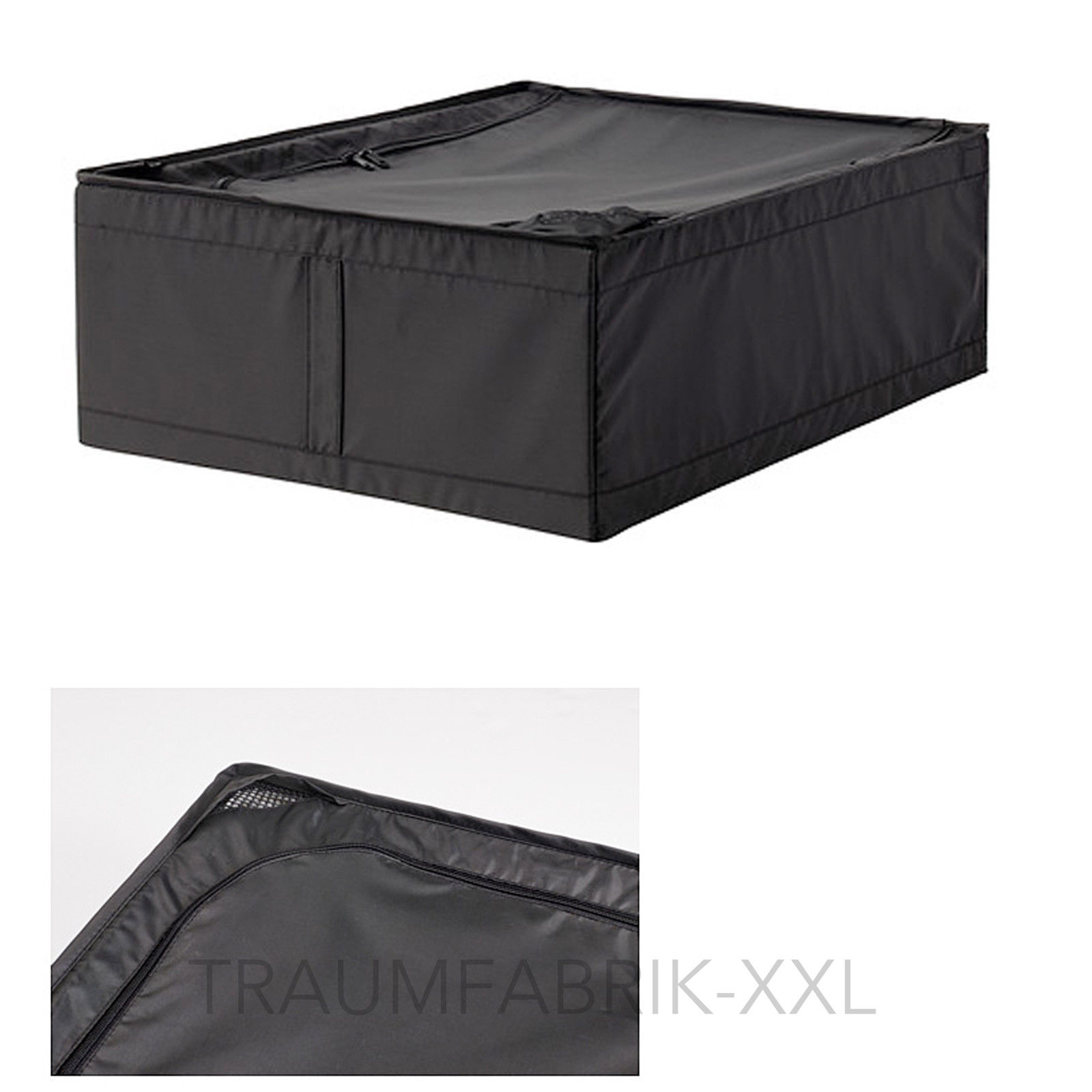 ikea aufbewahrungsbox aufbewahrung bettdecke box tasche kiste regalbox schwarz traumfabrik xxl. Black Bedroom Furniture Sets. Home Design Ideas