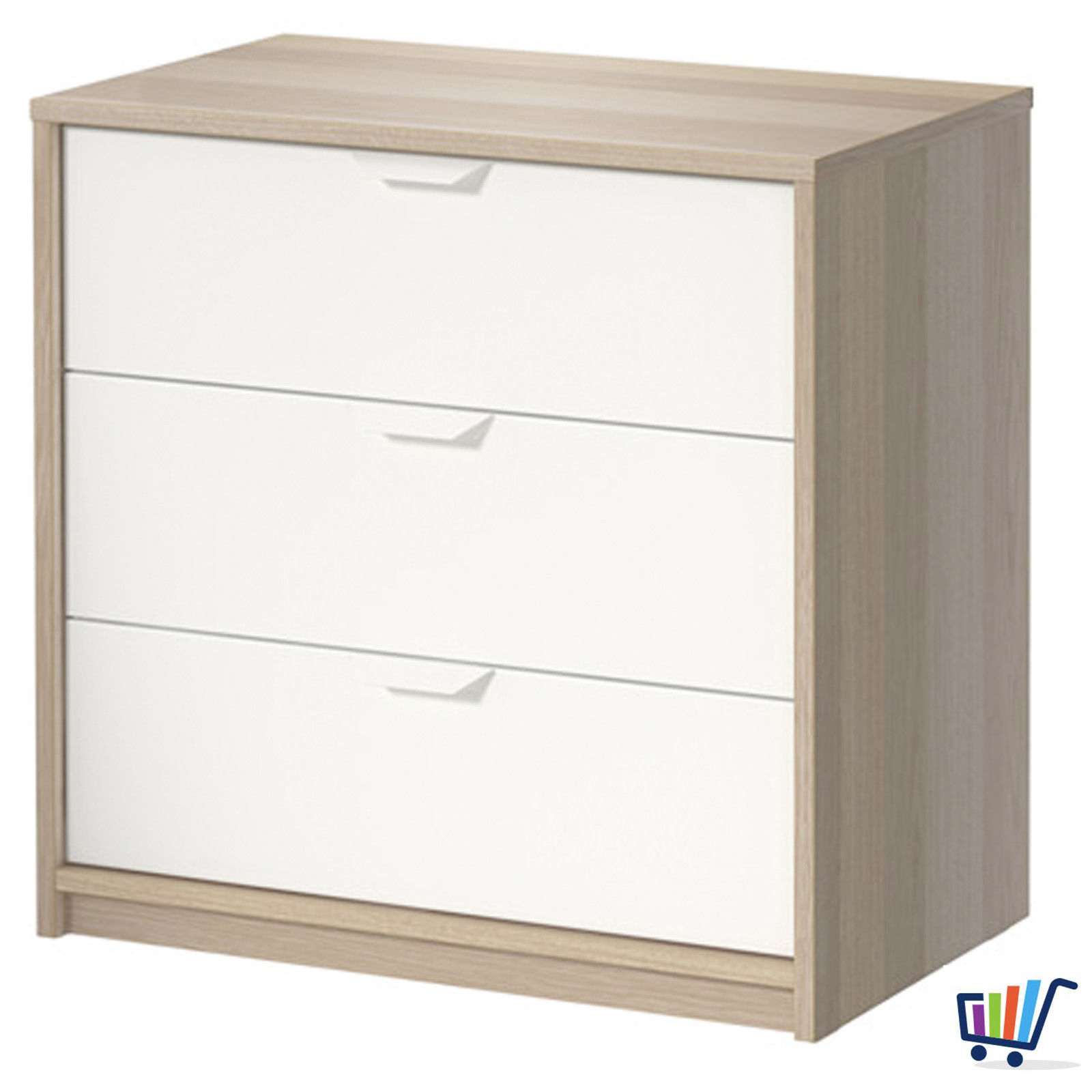 ikea askvoll wei kommode mit 3 schubladen schrank kleiderschrank 70 68 cm neu traumfabrik xxl. Black Bedroom Furniture Sets. Home Design Ideas