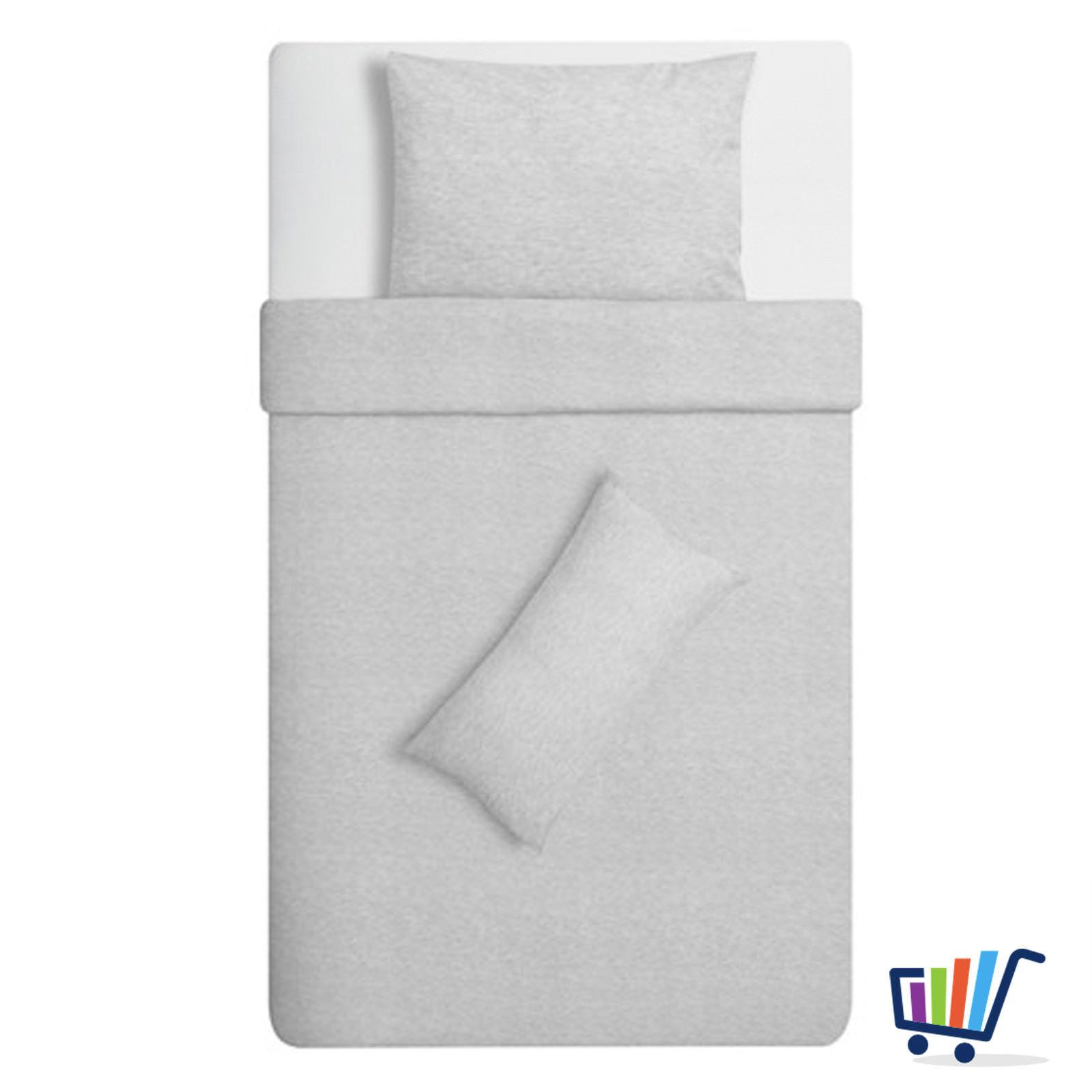 ikea blasstarr 155 220 cm 3 tlg jersey premium bettw sche set grau bettbezug neu traumfabrik xxl. Black Bedroom Furniture Sets. Home Design Ideas