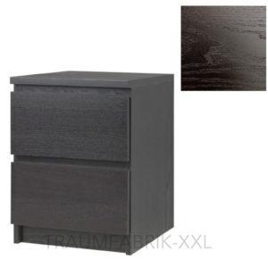 ikea kommode schrank mit 2 schubladen schwarz braun nachtisch ablagetisch neu traumfabrik xxl. Black Bedroom Furniture Sets. Home Design Ideas