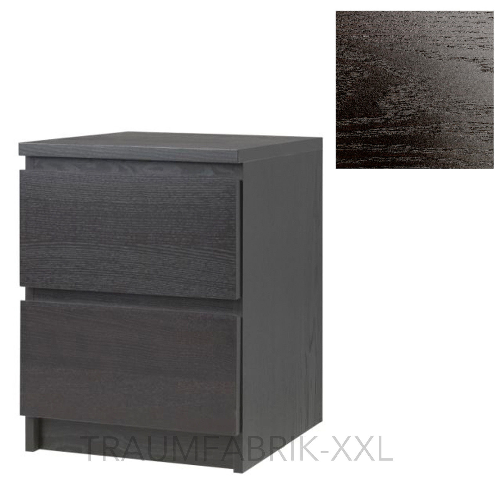 ikea kommode schrank mit 2 schubladen schwarz braun nachtisch ablagetisch neu traumfabrik xxl. Black Bedroom Furniture Sets. Home Design Ideas