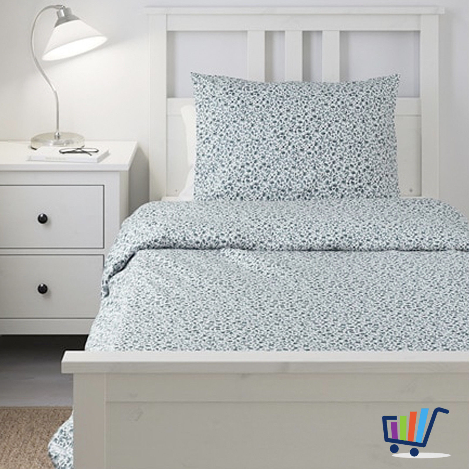 Ikea Vattenmynta 2 Tlg Bettwäsche 140200 Cm Bettbezug Blau Weiß