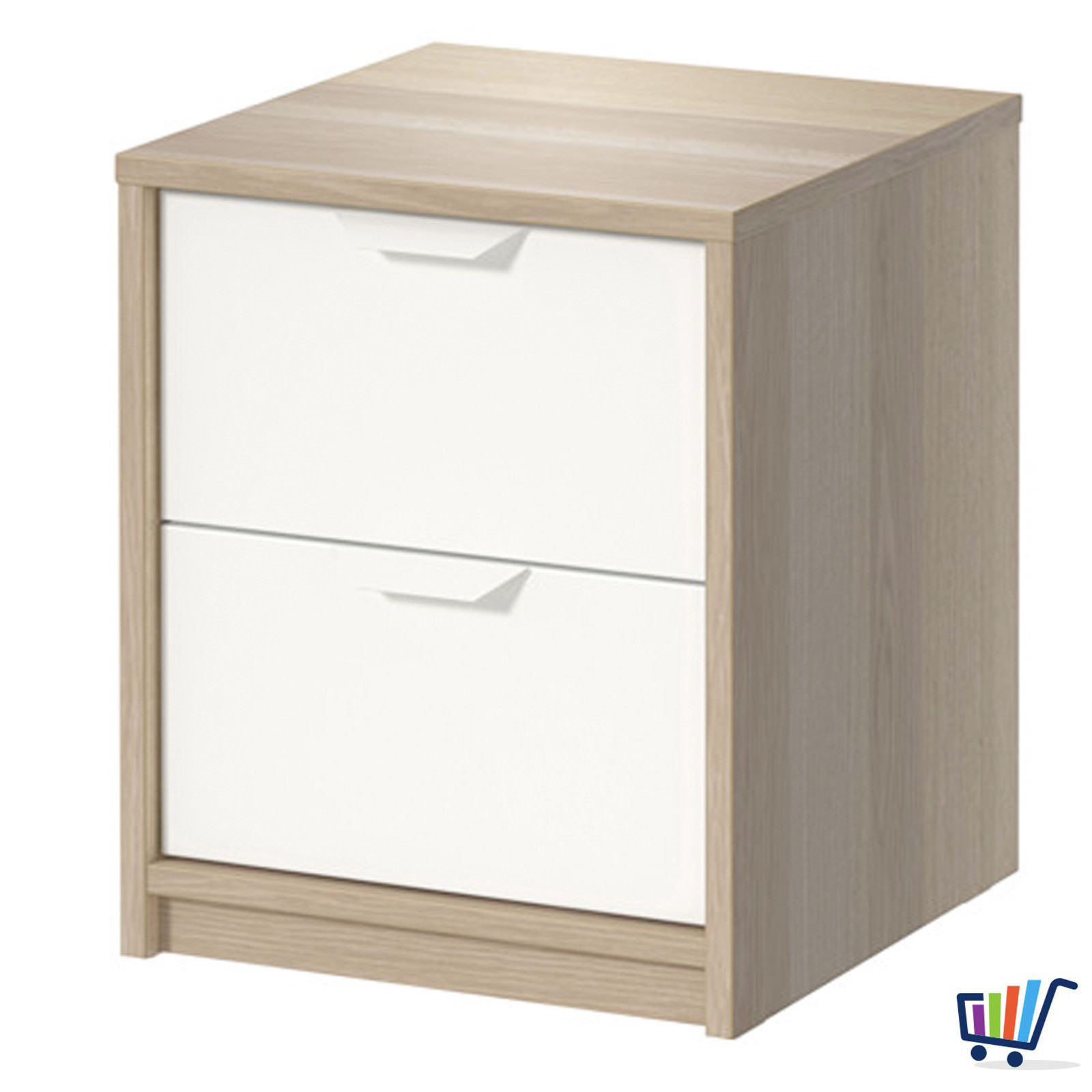 ikea askvoll kommode mit 2 schubladen eiche nachtkonsole nachttisch schrank neu traumfabrik xxl. Black Bedroom Furniture Sets. Home Design Ideas