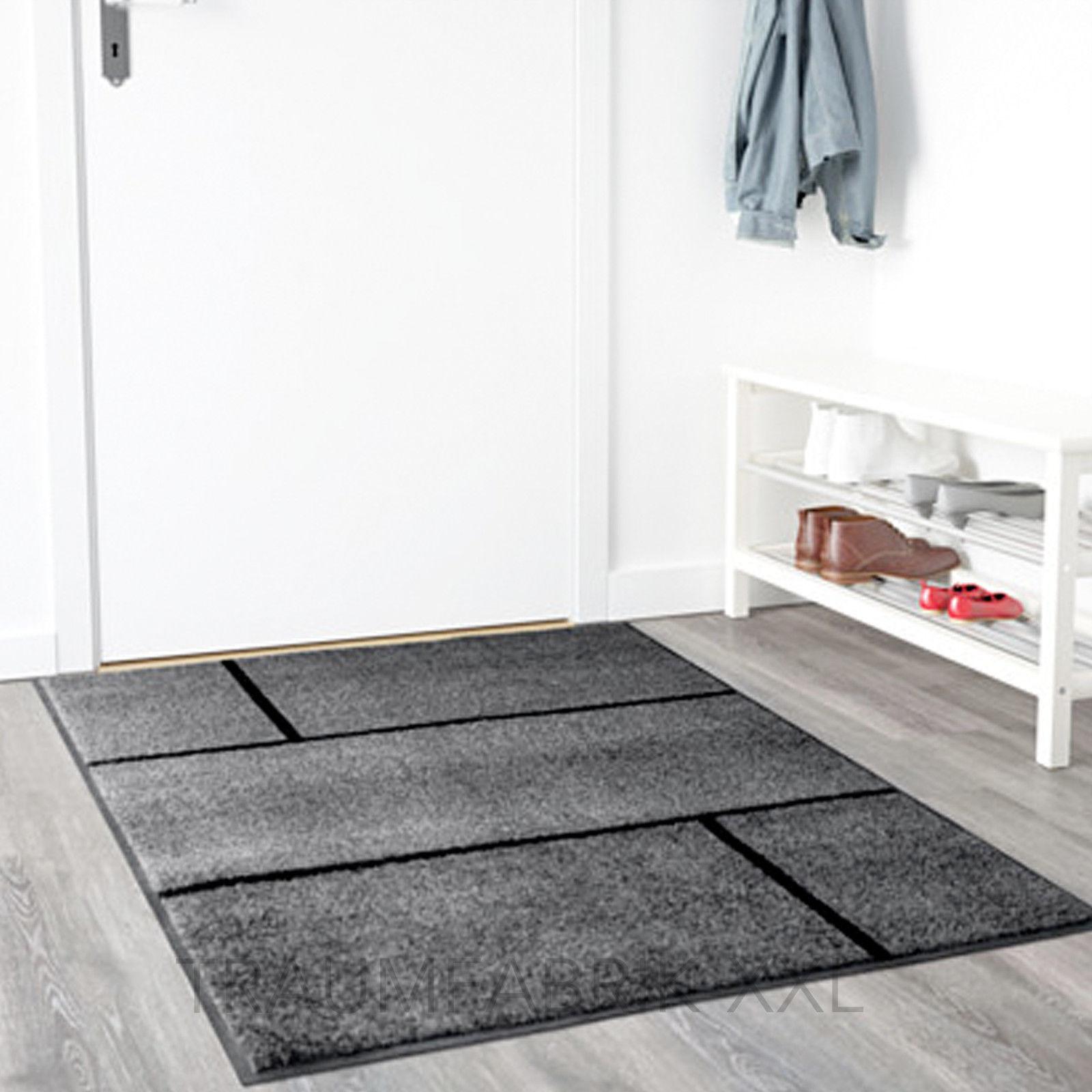 ikea k ge fu matte 102 152 cm grau schwarz bodenmatte fu abtreter t rmatte neu traumfabrik xxl. Black Bedroom Furniture Sets. Home Design Ideas