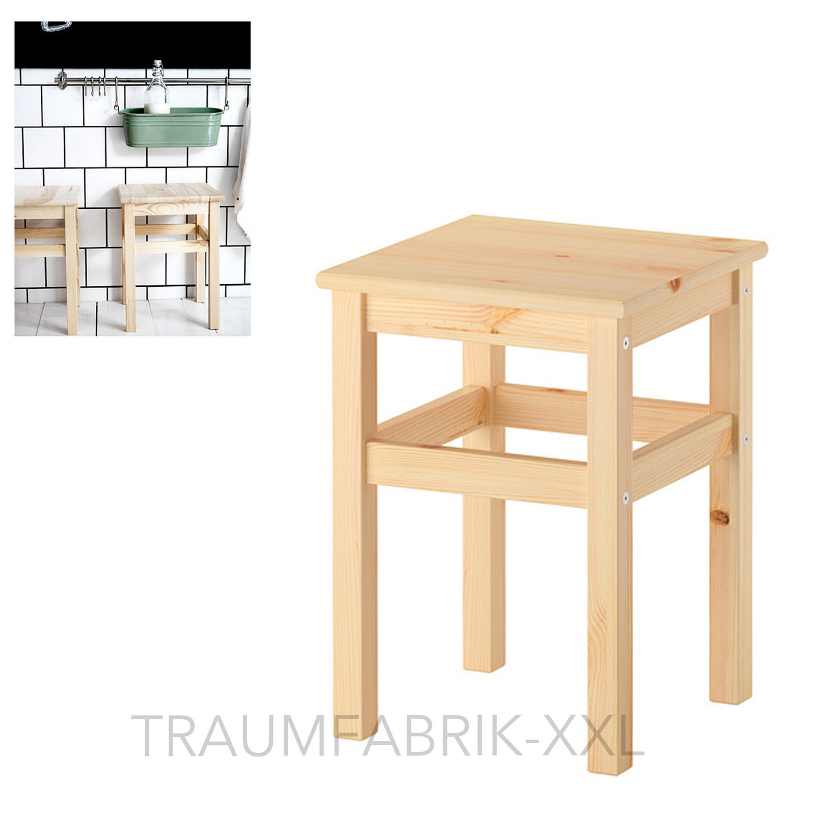 ikea oddvar hocker holzhocker schemel holzschemel 33x33x45cm massive kiefer neu traumfabrik xxl. Black Bedroom Furniture Sets. Home Design Ideas