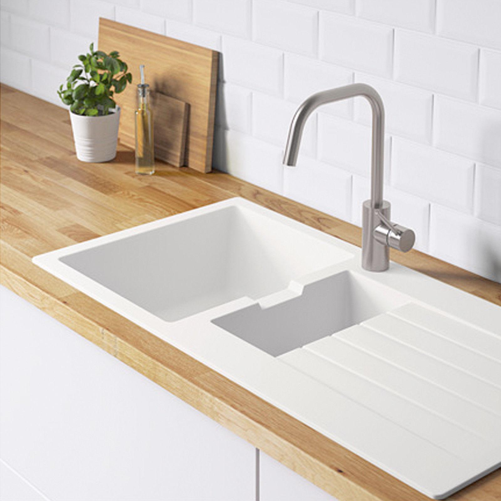 Bevorzugt IKEA Spüle Einbauspüle 1,5 Becken weiß Quarzkomposit 100×50 cm PW48