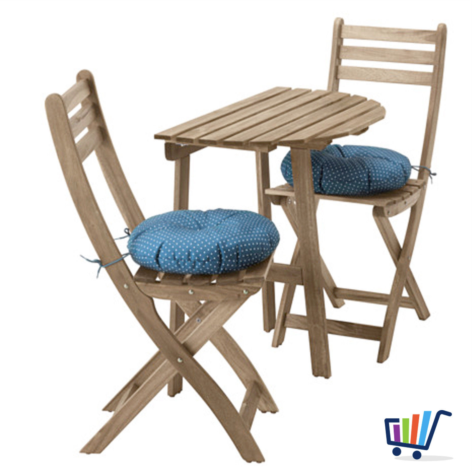 ikea gartentisch wandtisch + 2 klappstühle + kissen balkonmöbel
