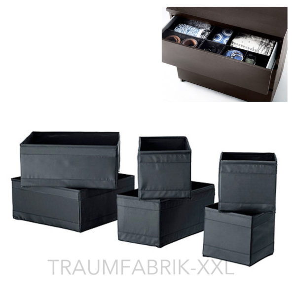 ikea skubb kleidungsbox 6er set schwarz aufbewahrung. Black Bedroom Furniture Sets. Home Design Ideas