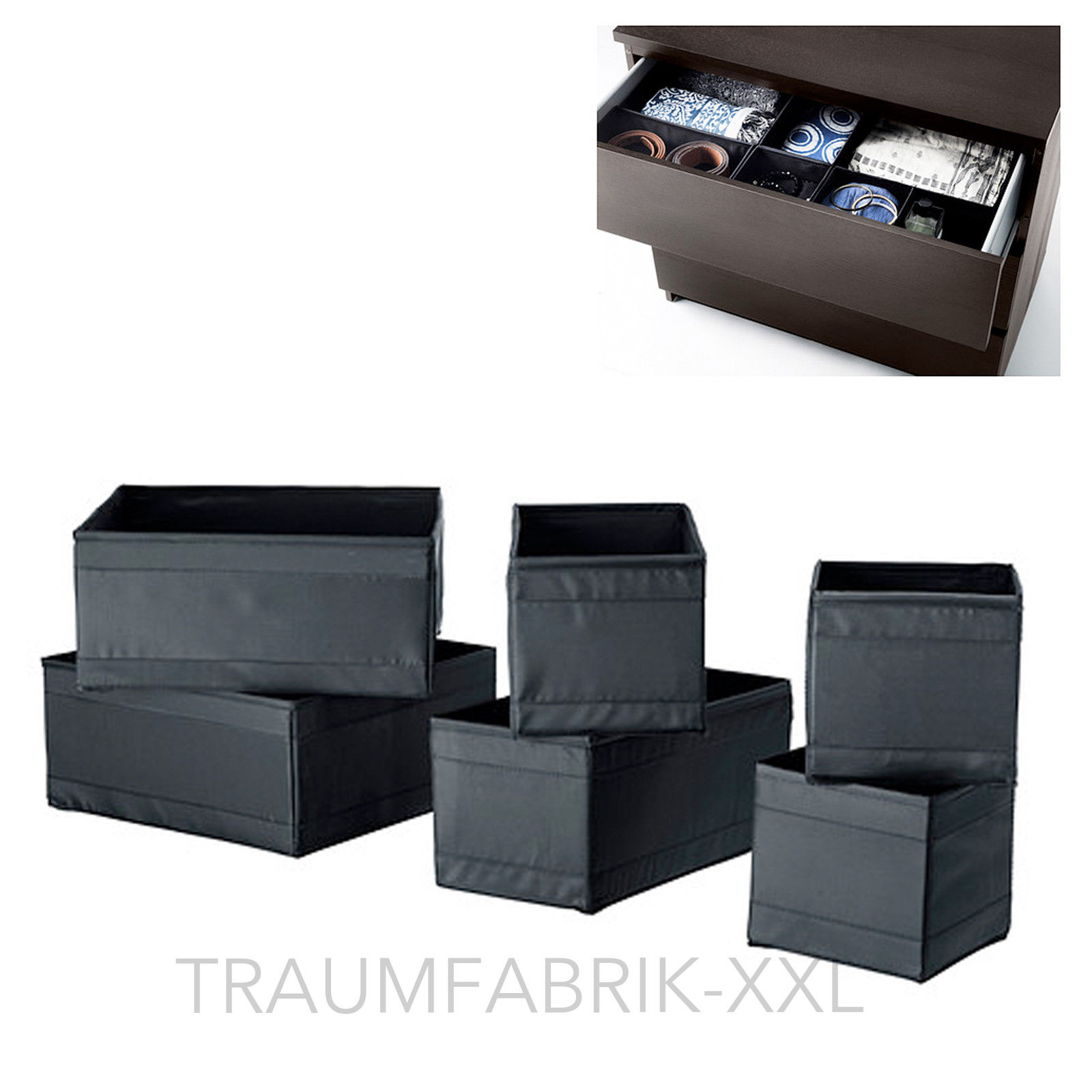 ikea skubb kleidungsbox 6er set schwarz aufbewahrung schachtel boxen kisten box traumfabrik xxl. Black Bedroom Furniture Sets. Home Design Ideas