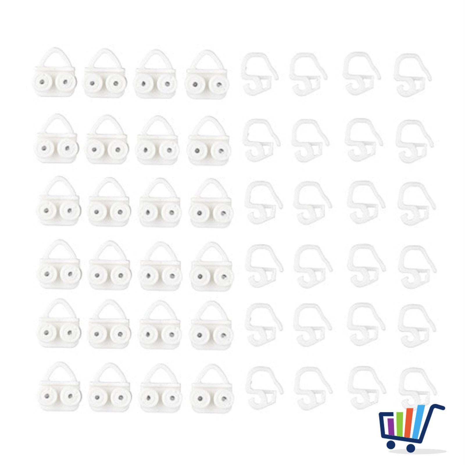 IKEA VIDGA Gardinen Gleiter & Haken in weiß; 24 Stück Gardinenstangen & Zubehör