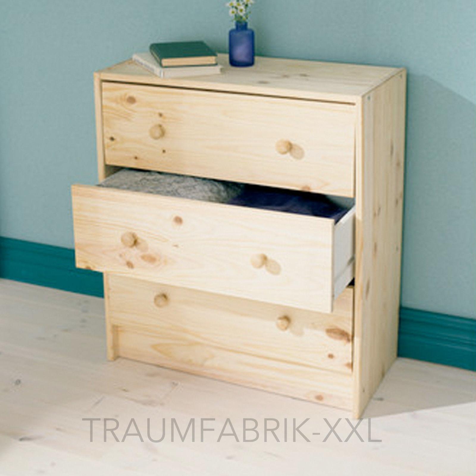massivholz kommode mit 3 schubladen kiefer schrank. Black Bedroom Furniture Sets. Home Design Ideas