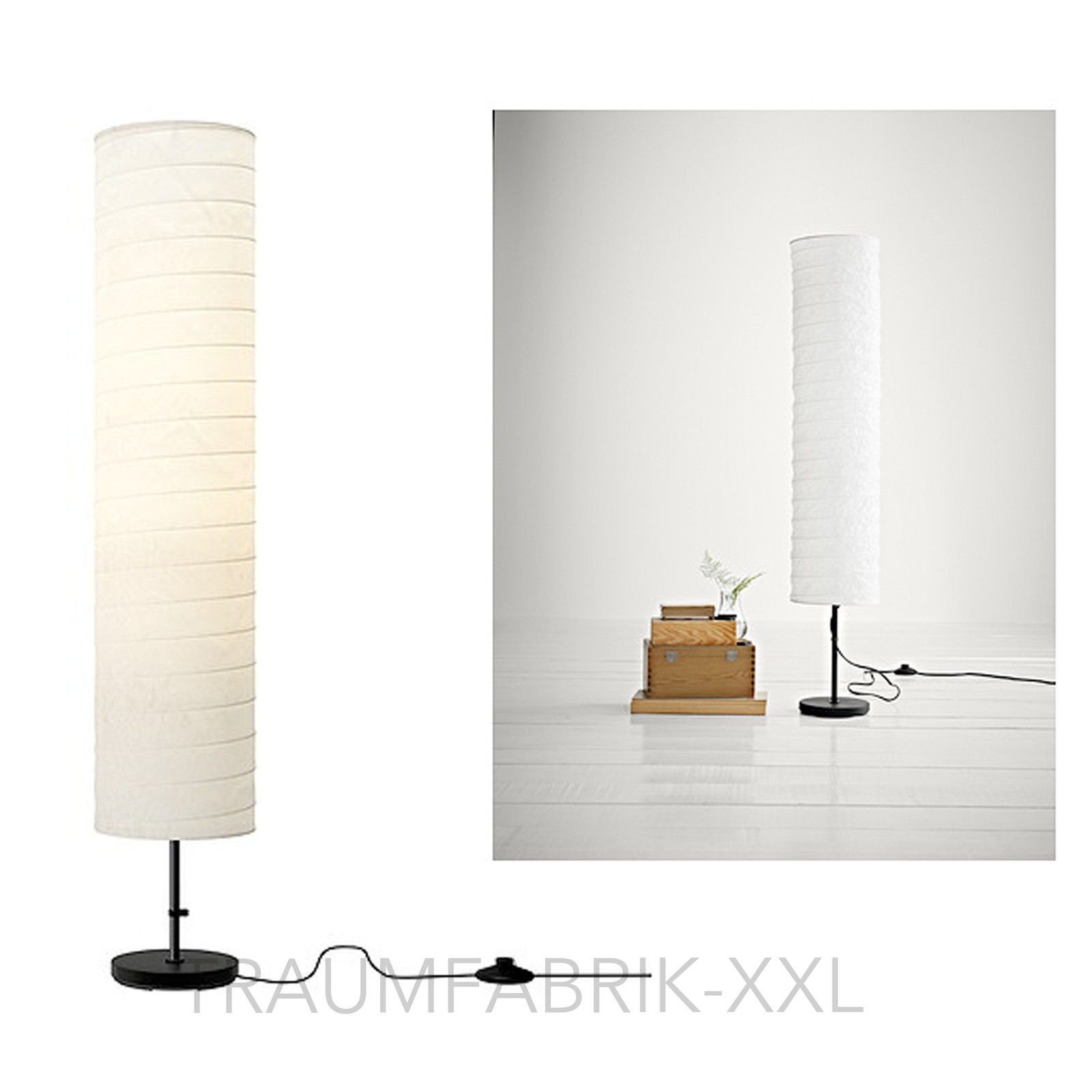 ikea holm stehlampe standleuchte aus papier standlampe stehleuchte lampe 116 cm traumfabrik xxl. Black Bedroom Furniture Sets. Home Design Ideas