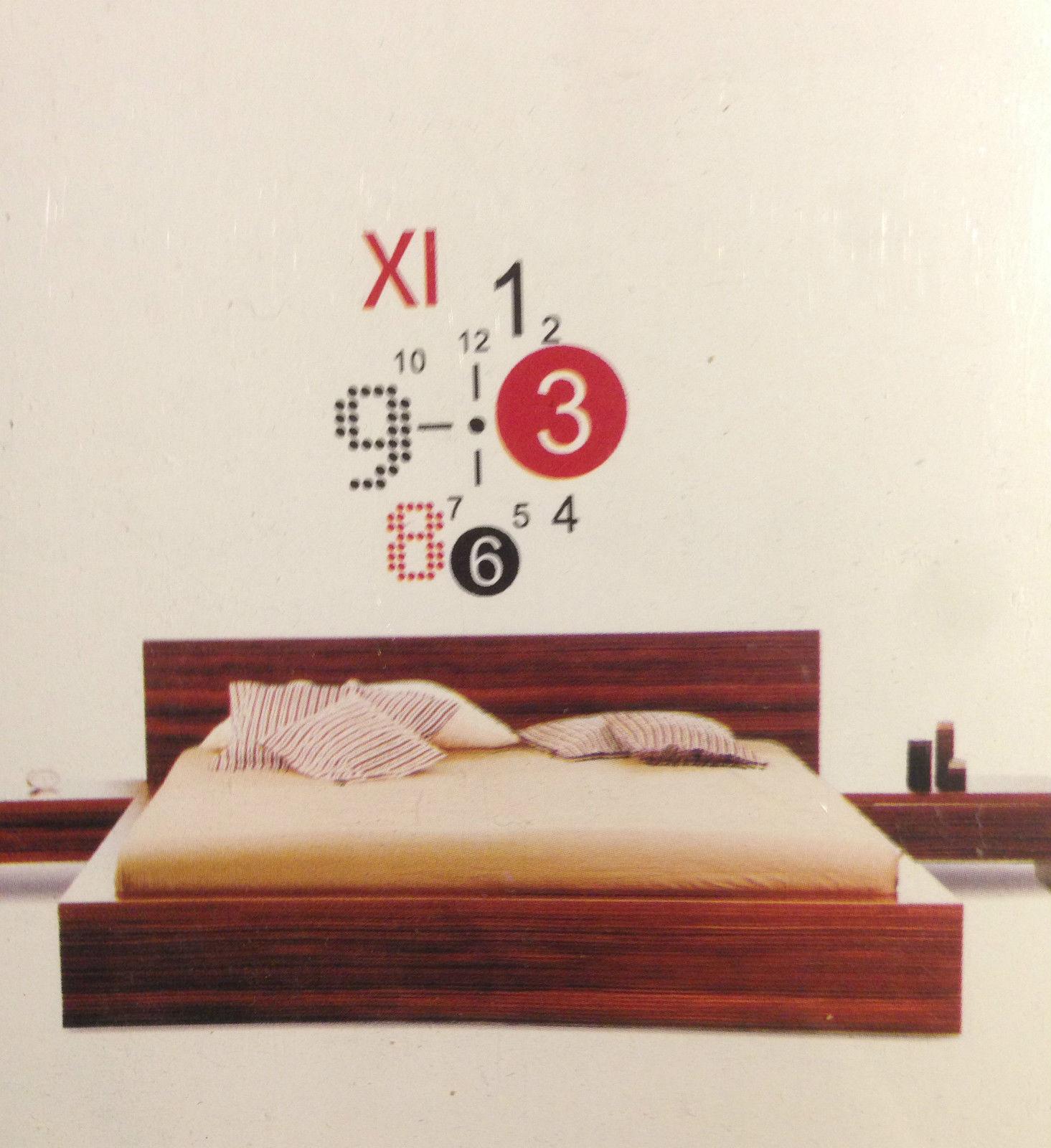 XL Wandtattoo Uhr Wanduhr mit Uhrwerk für Wohnzimmer Küche Zahlen ...