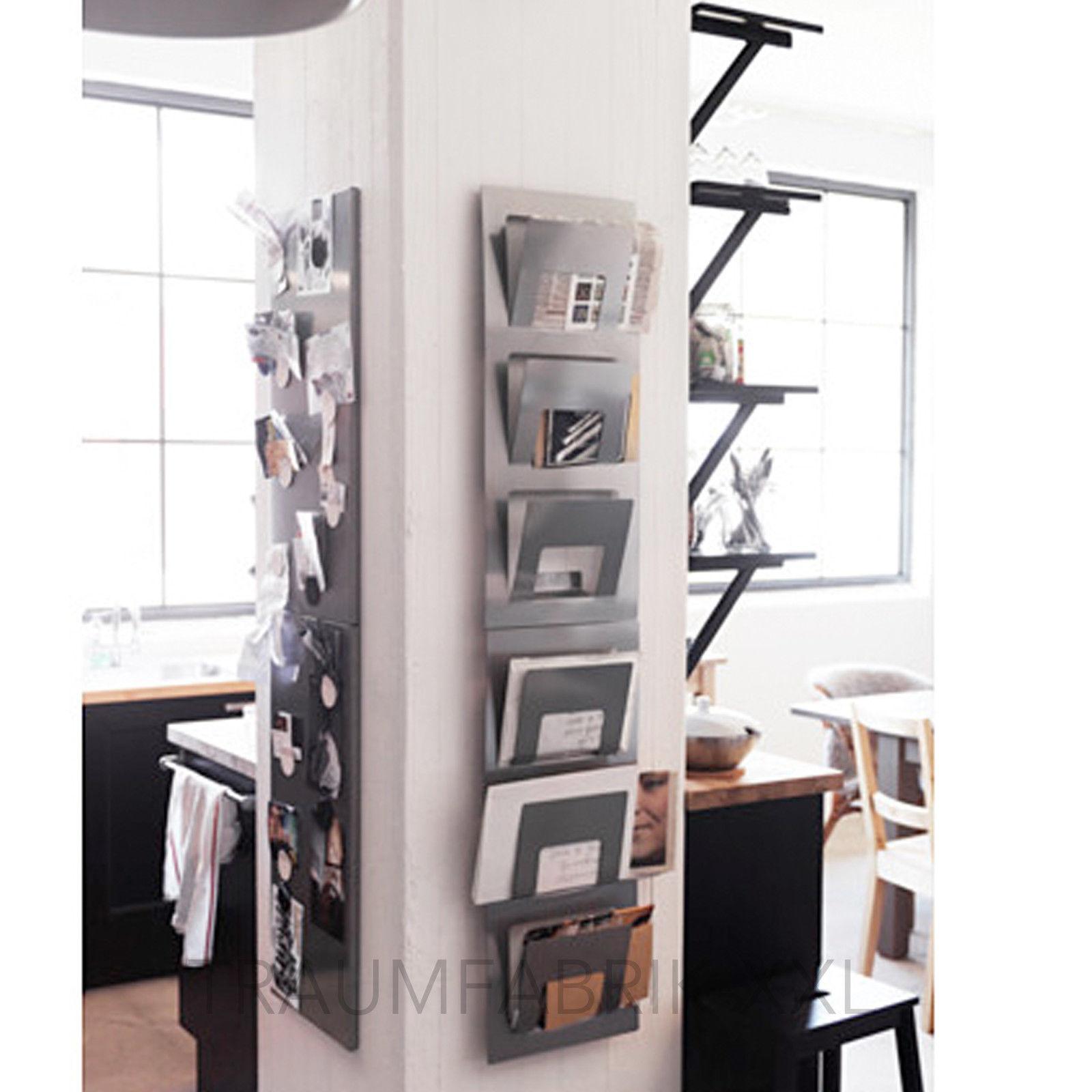 zeitungsst nder magazinhalter zeitungshalter f r die wand silber neu ovp traumfabrik xxl. Black Bedroom Furniture Sets. Home Design Ideas