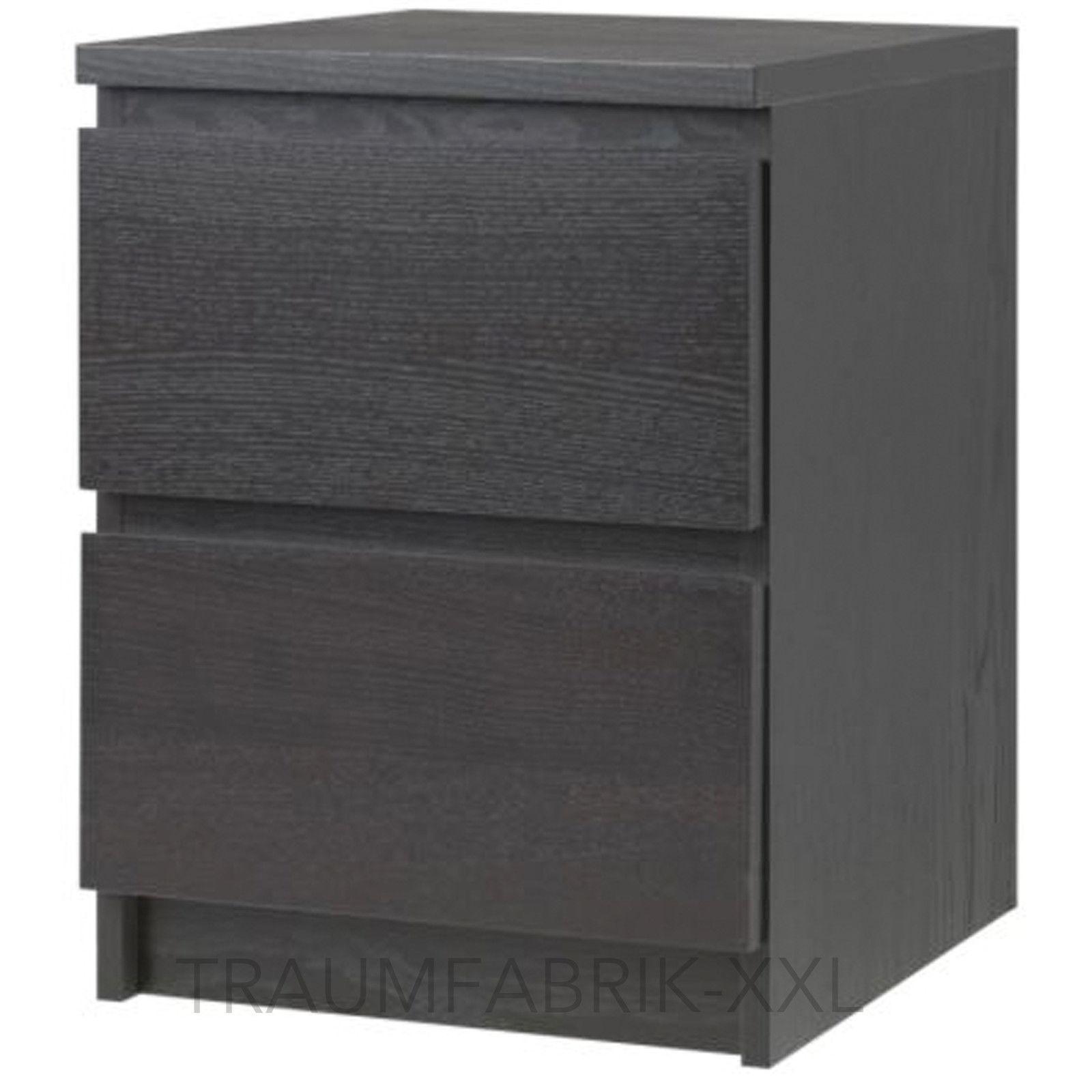ikea malm kommode mit 2 schubladen schwarz nachtkonsole nachttisch schrank neu traumfabrik xxl. Black Bedroom Furniture Sets. Home Design Ideas