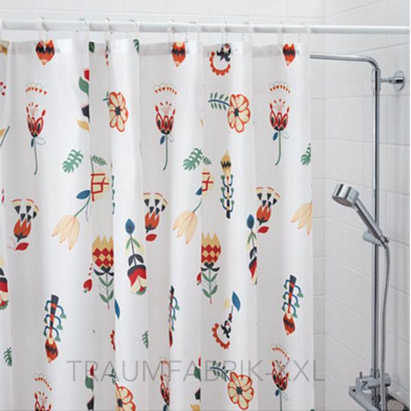 ikea rosenfibbla duschvorhang in wei mit blumenmuster 180x200cm vorhang dusche traumfabrik xxl. Black Bedroom Furniture Sets. Home Design Ideas