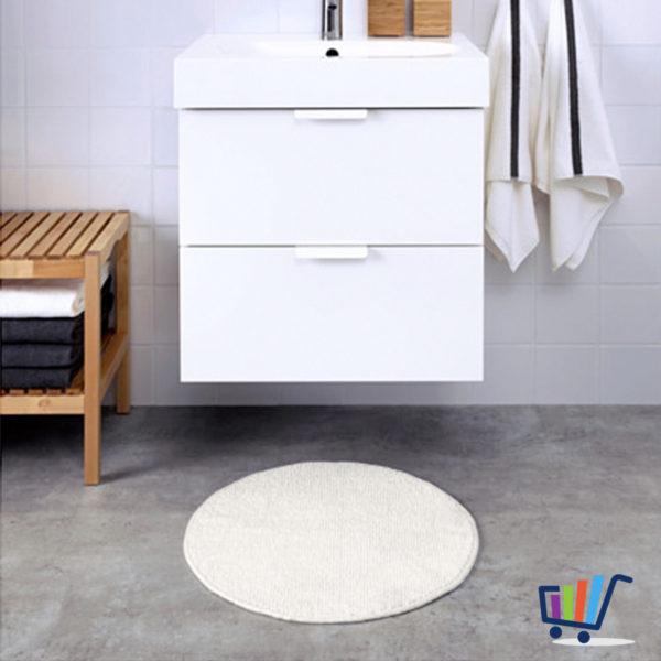 ikea badaren duschmatte 55 cm rund wei vorleger weich badezimmermatte teppich traumfabrik xxl. Black Bedroom Furniture Sets. Home Design Ideas