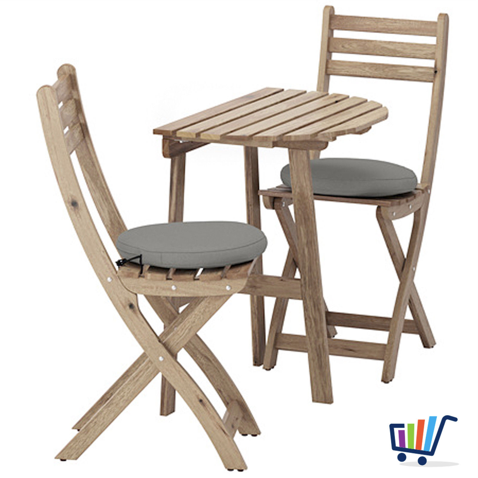 ikea gartentisch wandtisch + 2 klappstühle +2 kissen balkonmöbel