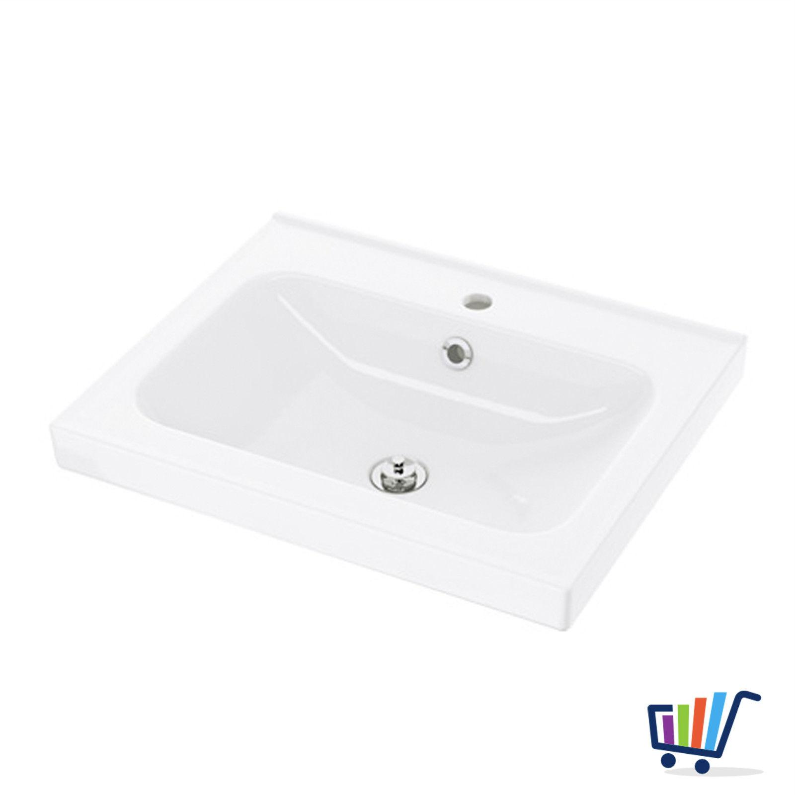 IKEA ODENSVIK Waschbecken Bad 60x49 cm Waschtisch weiß + Abfluss und Siphon  NEU
