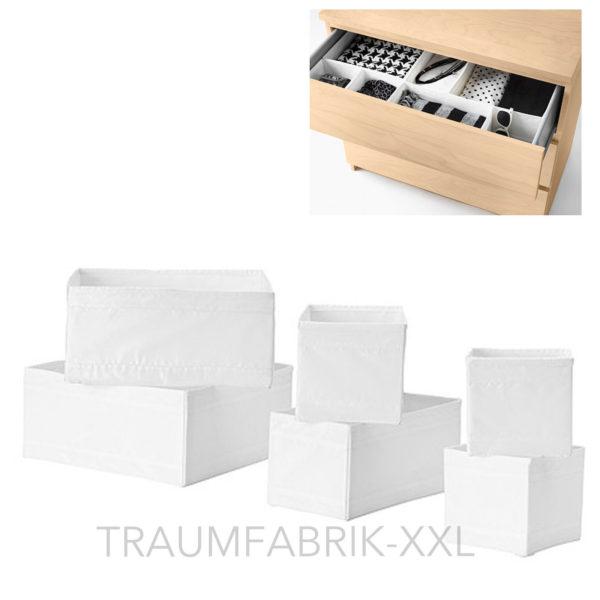 ikea 6er set aufbewahrungsboxen skubb regaleins tze je 2x in 3 gr en wei neu traumfabrik xxl. Black Bedroom Furniture Sets. Home Design Ideas