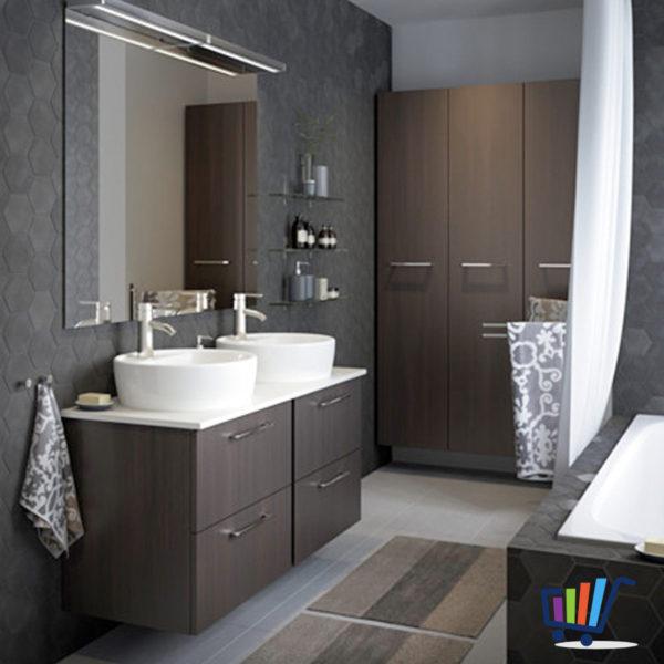 IKEA BARVALLA Duschmatte 60×90 cm grau braun Matte Vorleger ...