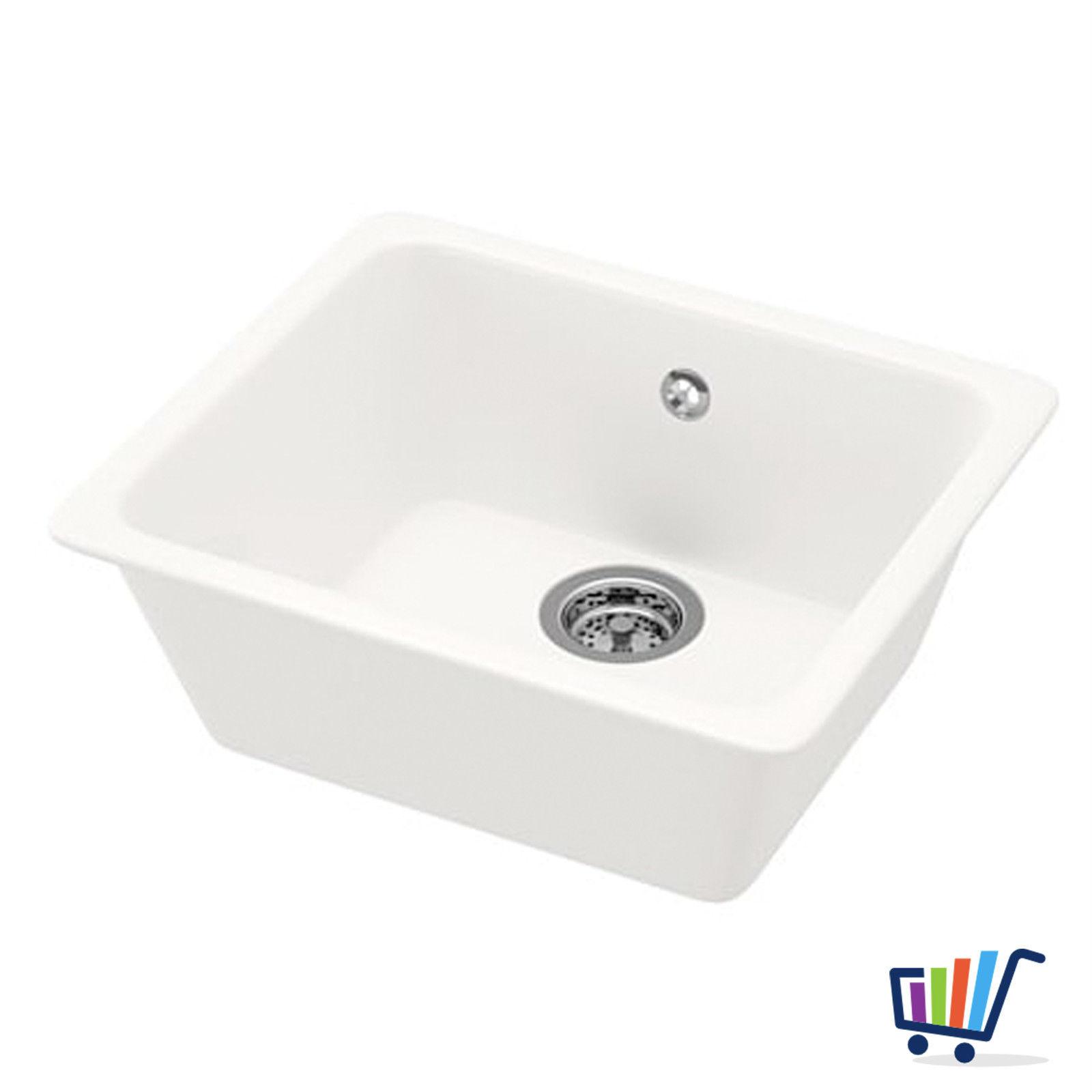IKEA DOMSJÖ Keramik Spülbecken Küchenspüle Waschbecken Einbauspüle ...