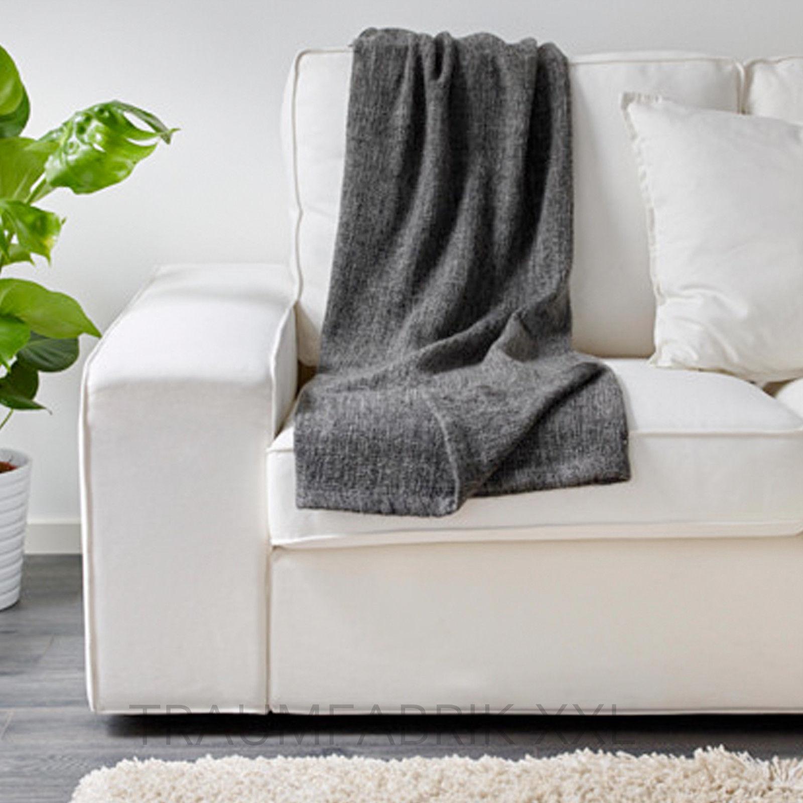 Ikea Gurli Grau Schwarz Tagesdecke 120x180cm Kuscheldecke Plaid Wolldecke Neu