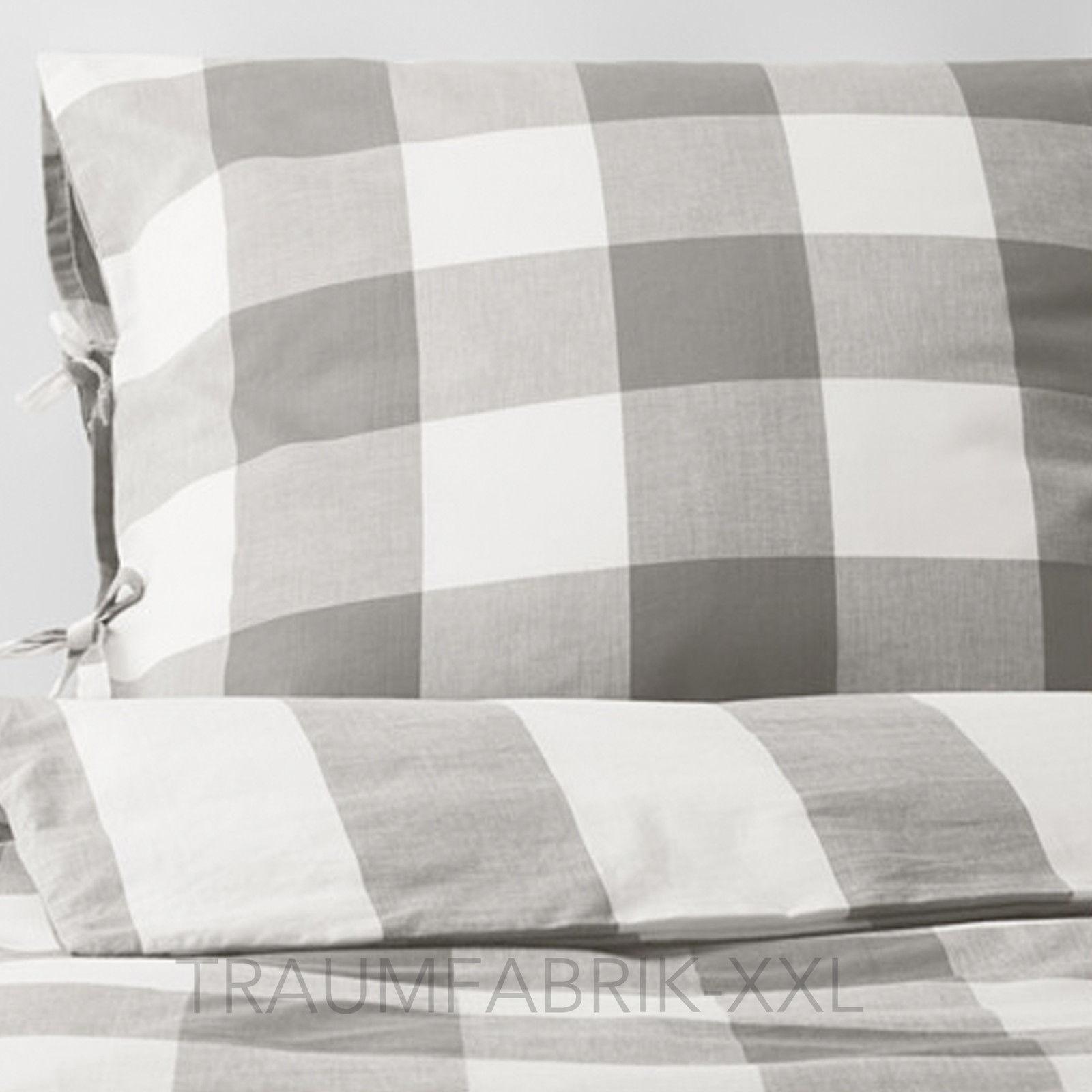 ikea emmie ruta bettw sche bettbezug 140 200 cm bettw scheset 2 tlg wei grau traumfabrik xxl. Black Bedroom Furniture Sets. Home Design Ideas