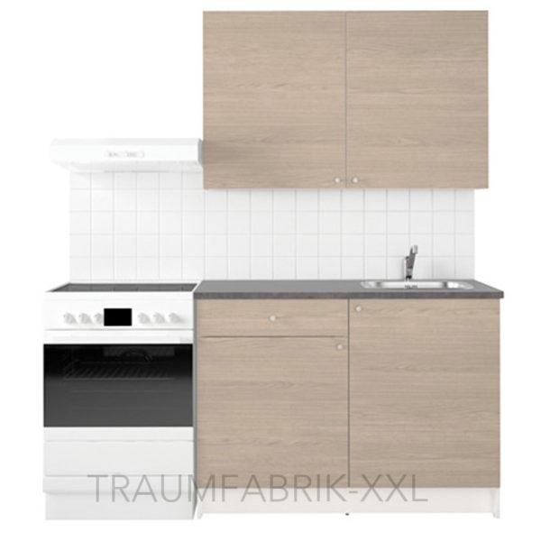 k chenzeile k che k chenblock 120cm breit holzeffekt mit arbeitsplatte sp le neu traumfabrik xxl. Black Bedroom Furniture Sets. Home Design Ideas